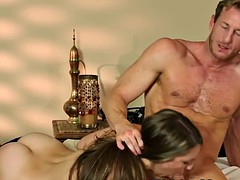busty massage babe fucked in missionary pose