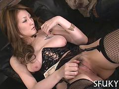 Sexy Japanese chick gets tied up and groped naked
