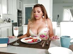 Naughty mom with extra big tits fucked in the kitchen