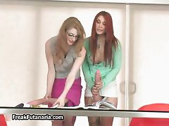 Redhead babe loves sucking and stroking