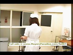 Japanese AV girl is a naughty nurse in lovely lingerie