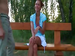 european teen couple fucking on a bench