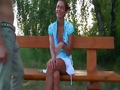 european teen couple fucking on a bench